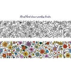 Floral set of horizontal seamless borders for your vector image vector image