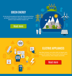 Green energy and electric appliances banners vector