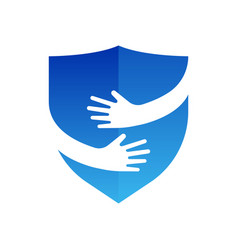 hands and shield logo abstract logo design vector image