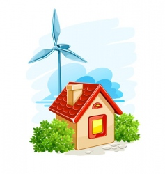 house with wind turbine vector image vector image