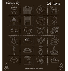 I love you womens doodle 24 icon in set of womens vector