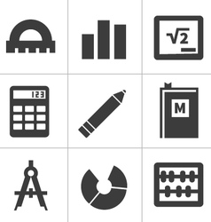 Monochrome flat maths icons vector