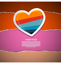 Retro paper heart on torn paper background vector