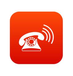 retro phone icon digital red vector image vector image