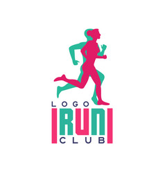 Run club logo emblem with abstract running people vector