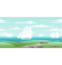 Sea landscape with ships vector image vector image