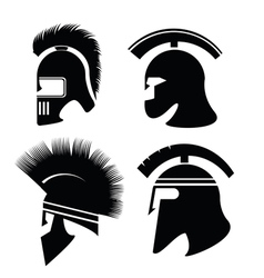 Silhouettes of greek and poman helmets vector