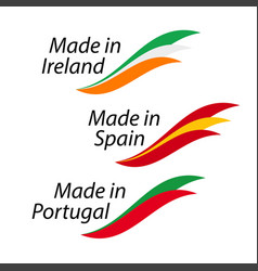 simple logos made in ireland made in spain made vector image vector image