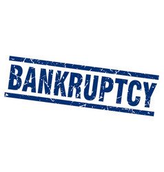 Square grunge blue bankruptcy stamp vector