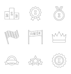 Victory and reward icons set outline style vector