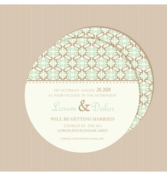 Wedding invitation card round vector