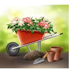wheelbarrow with flowers vector image