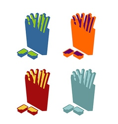 French fries flat sign icon fast food multicolored vector