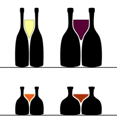 Set of alcohol bottles and glasses vector