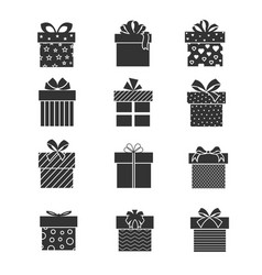 Black gift box icons presents signs with ribbons vector
