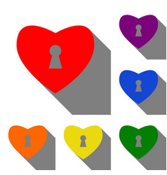 heart woth lock sign set of red orange yellow vector image