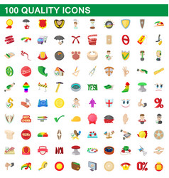 100 quality icons set cartoon style vector