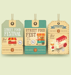 Street food festival price tags vector