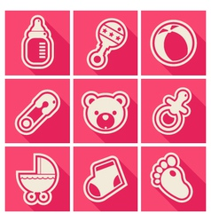 Baby shower square icons vector