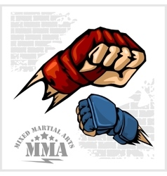 Fist punch - MMA mixed martial arts emblem badges vector image