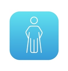 Man with crutches line icon vector image