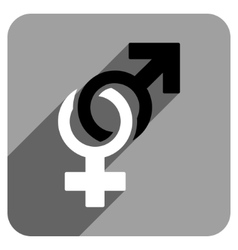 Sexual symbols flat square icon with long shadow vector