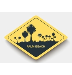 Icon palm beach and shadow vector