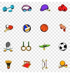 Sports equipment set icons vector