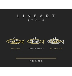 Icon fish emblem sea fish for menu design vector