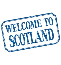 Scotland - welcome blue vintage isolated label vector