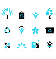 Eco design elements isolated on white vector image