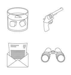 a glass of whiskey a gun binoculars a letter in vector image