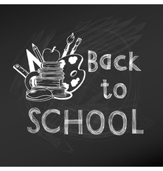 Back to School Chalkboard - hand-drawn vector image vector image