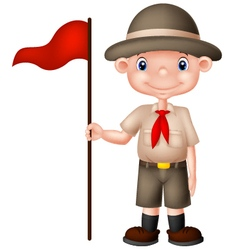 Cartoon boy scout holding red flag vector