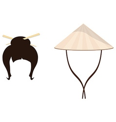Chinese hat and geisha hair style vector image vector image
