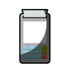 Color silhouette with payment terminal with half vector