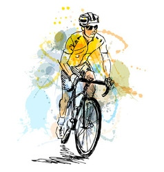 Colored hand sketch cyclist vector