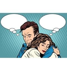 Couple man and woman love hug vector