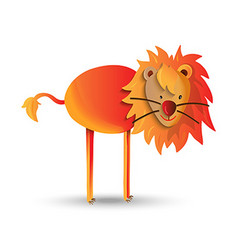 Cute cartoon of happy wild lion vector