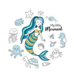 Cute little mermaid with sea animals vector