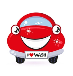 Cute red car wash vector