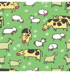 Farm livestock seamless pattern vector