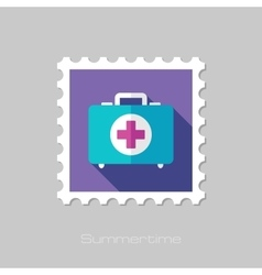 First aid flat stamp with long shadow vector image