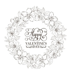 Floral wreath - Valentine design vector image