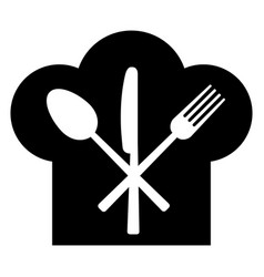 fork knife spoon and headdress of the cook vector image