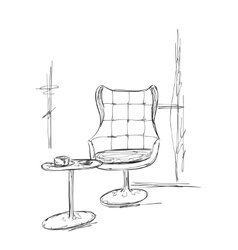 Hand drawn chair and table cafe sketch vector