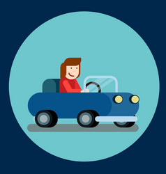 happy woman driving a car of vector image vector image
