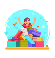 Happy woman shopping pile of goods gifts boxes vector