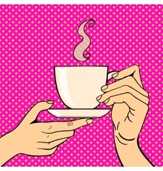 Human hand coffe cup pose vector image vector image
