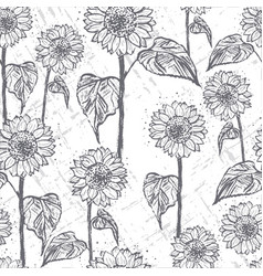 ink hand drawn seamless pattern with sunflowers vector image vector image